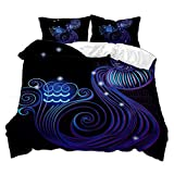 Negro Juego de Cama Cielo Estrellado Azul Púrpura Doce Constelaciones Tema Patrón Funda nórdica Funda de Almohada (Acuario, 150x200 cm - Cama 90 cm)