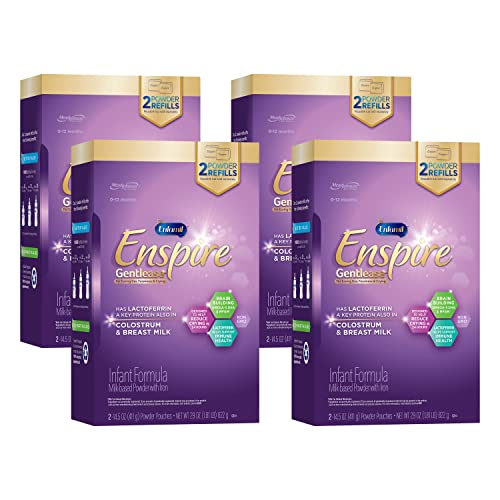Enfamil Enspire Gentlease Infant Formula with Immune-Supporting Lactoferrin, Brain Building DHA, 5 Nutrient Benefits in 1 Formula, Eases Gas, Fussiness, Spit-up, Crying, Refill Box, 29 Oz (Pack of 4)