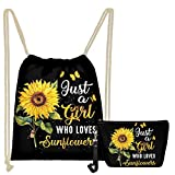 WELLFLYHOM Sunflower Drawstring Backpack Bag Party Favors Tote String Cinch Sack Cute Butterfly Set 2-PCS with Makeup Bag Cosmetic Pouch for Women Youth Girls for Purse Clutch Travel Toiletry Pouch