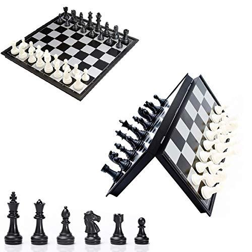 Wohlstand Tablero de Ajedrez Magnético Ajedrez y Damas Backgammon Plastico Juego de Ajedrez Plegable y Portátil Tablero de Ajedrez Las Piezas de Ajedrez para Niños Adulto 25 X 25CM Blanco y Negro