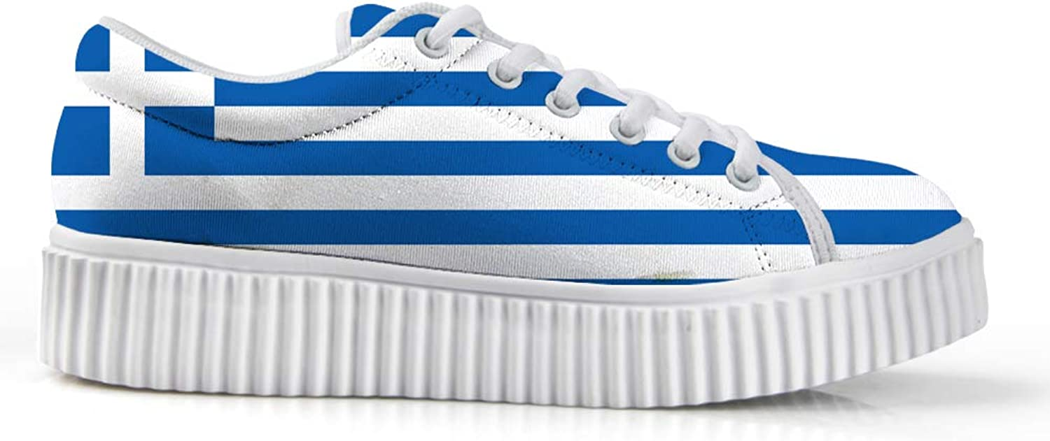 Owaheson Platform Lace up Sneaker Casual Chunky Walking shoes Low Top Women Greek Flag