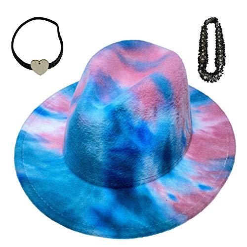 Xiang Ru Fedora-Hüte mit breiter Krempe, für Herren und Damen, 2 Stück, abnehmbares Leder- und Perlenband, Batikfärbung