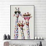 ZWBBO Leinwand Gemälde Dekorative Malerei Wandbild Kunst Bunte Öl Tier Giraffe Eine Familie Mit Brille Malerei Leinwandbild Leinwand Drucke wandkunst Für Bettwäsche Zimmer-70x100cm