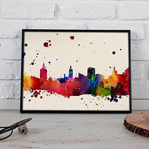 Nacnic Lámina Ciudad de Valencia. Skyline Estilo Acuarela y explosión de Color. Poster tamaño A3 Impreso en Papel 250 Gramos y tintas Decoración del hogar. Diseño al Mejor Precio.