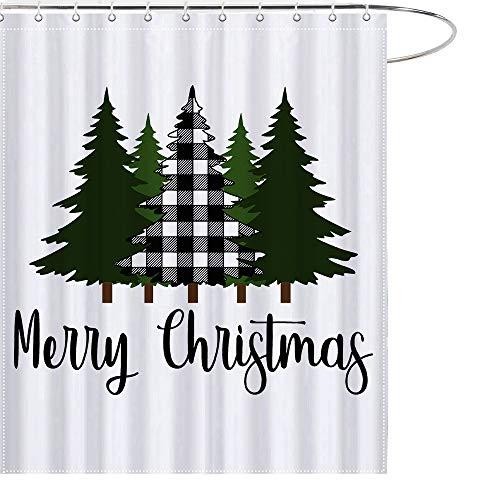 Christmas Farmhouse Shower Curtain Buffalo Black White Tree Bathroom Decor Waterproof Polyester with Hooks 69x70 Inchs
