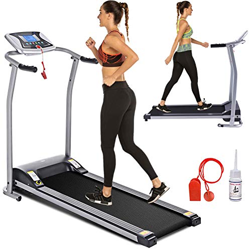 Electric Folding Treadmill for Home with LCD Monitor,Pulse Grip and Safe Key Fitness Motorized...