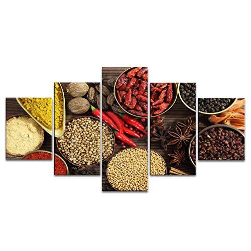 YANGMAN-ART canvas-muur kunst couful kruiden anis knoflook rode peper koken specerijen poster voor restaurant dining room decoratie 5 panelen met ingelijst