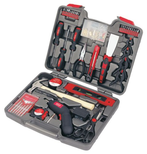 APOLLO TOOLS 144 Piece Household Tool Set With Powerful Cordless Screwdriver and Most Used Tools for Home Repairs, DIY and Crafts - DT8422