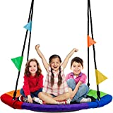 Sorbus Saucer Tree Swing in Multi-Color Rainbow – Kids Indoor/Outdoor Round Mat Swing – Great for Tree, Swing Set,...
