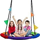 Sorbus Saucer Tree Swing in Multi-Color Rainbow – Kids...