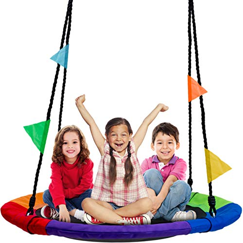 Sorbus Saucer Tree Swing in MultiColor Rainbow – Kids Indoor/Outdoor Round Mat Swing – Great for Tree Swing Set Backyard Playground Playroom – Accessories Included Round – 40""