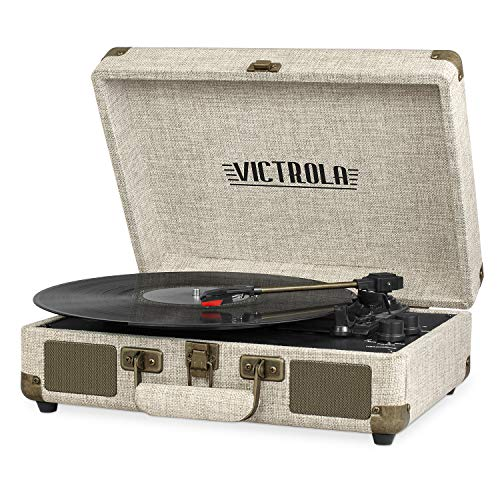 Victrola Vintage 3-Speed Bluetooth Portable Suitcase Record Player with Built-in Speakers | Upgraded Turntable Audio Sound| Includes Extra Stylus | Light Beige Linen