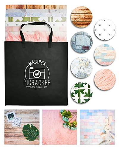 """Photo Backdrop Boards for Flat Lay & Food Photography. Realistic Looking, Durable, Waterproof & Non-Reflective. 19.7x19.7"""" Set with 7 Tropical Themed Designs"""