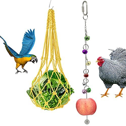 Geoyien Geoyien comederos de la Fruta de Pollo, comedero Colgante Bolsa de Red para Pollo con Campanas brocheta de golosinas para pájaros para gallinas Gallo, (2 Piezas)