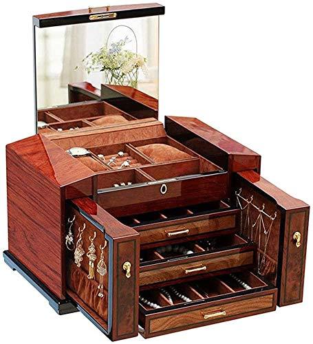 JoinBuy.R Schmuckkästchen aus Massivholz, mit Schloss und Schlüssel und großem Spiegel auf dem Deckel, 3 Schubfächer, 2 kleine Seitenschränke