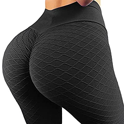 YOFIT Women's High Waist Workout Compression Black Textured Fitness Yoga Leggings Ruched Butt Lift Active Tights Stretchy Pants