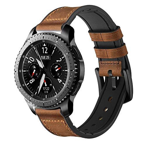 iBazal 22mm Correas Cuero Ibrida Gomma Pulseras Bandas Compatible con Samsung Galaxy Watch 46mm,Gear S3 Frontier Classic,Huawei GT/2 Classic/Honor Magic,Ticwatch Pro Hombres(Reloj No Incluido) -Marrón