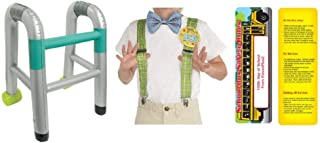 100th Day of School Costume Dress Up Bundle for a Boy: Grandpa Kit, an Inflatable Walker and an Exclusive ElevenPlus 2 Bookmark Yellow