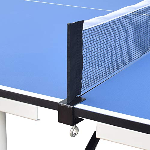 ALPIKA 9FT Professional Portable Table Tennis Table Indoor Outdoor Table Tennis Table, 10 Minute Quick Assembly Adjustable Ping Pong Table with Single Player Playback Mode and Net