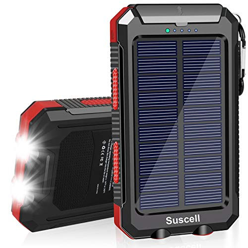 Solar Charger 20000mAh, Suscell Portable Solar Power Bank for Cell Phone, Dual 5V/2.1A USB Ports Output, 2 Led Flashlight, Perfect for Outdoor Activities, Compatible with Smartphones and Other Devices