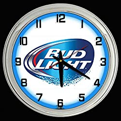ELG Companies LLC 16 Bud Light Beer Sign Blue Neon Clock Mancave Bar Garage Budweiser
