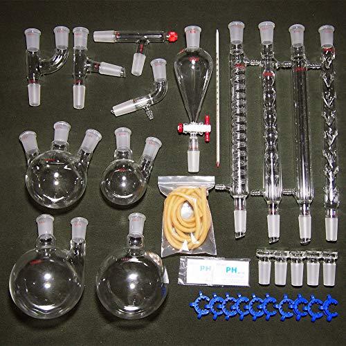 BQSWYD Destillationsanlagen, 24/40 Organische Chemie Gerät Laborglas Kit, 32PCS Lab Chemical Gerät, für reines Wasser Öl Ätherische Destillation