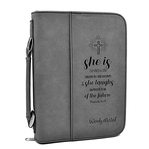 Custom Bible Cover - Proverbs 31:25 - Gray Bible Case with Black Engraving