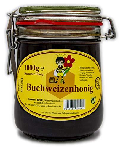ImkereiBeck® - Echter Deutscher Imkerhonig im 1kg /1000g Honigtopf - Honig vom Imker aus Bayern im wiederverwendbarem hochwertigem Bügelglas (Buchweizenhonig)