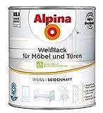 ALPINA Weißlack für Möbel und Türen 2 Liter Farbe Weiss Seidenmatt