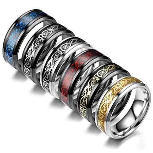 6 anillos para hombre, acero de titanio y acero inoxidable, diseño de dragón, para parejas, anillos de hombre europeos y americanos, regalo creativo (diámetro interior de 20 mm).