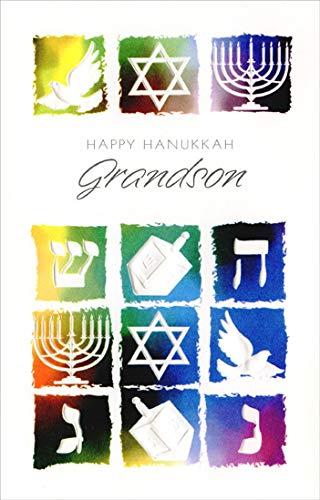 Freedom Greetings Twelve Embossed Images: Grandson Hanukkah Card