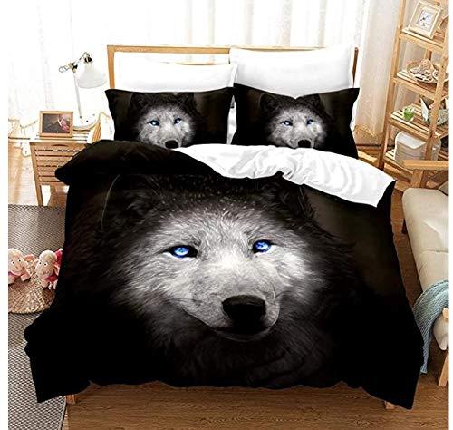 Bettwäsche-Set mit Tierdruck, 3D-Effekt, mit Bettbezug, 3-teilig, 01_135 x 200 cm