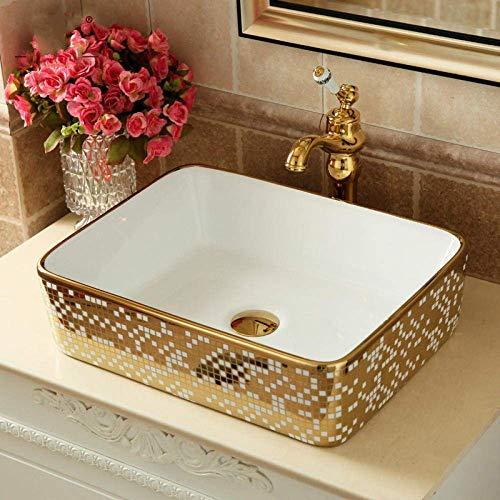 cxjff Lavabo de sobremesa de cerámica de Estilo Europeo Lavabo de Inodoro Cuadrado Art Golden Creative Lavabo de cerámica Rectangular Lavabo del baño