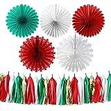 Decoraciones Fiesta 25 Piezas Rojo Verde Oro Blanco Navidad Fiesta Decoración Conjunto Copo De Nieve Papel Ventilador Borla Guirnalda Foto Telón De Fondo Mantel Decoración Del Hogar