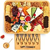 Cheese Board and Knife Set: 17.5 x 13 Inch - Wooden Charcuterie Platter & Serving Tray with Cutlery Set, Bamboo Cheese Board Set and Stylish Charcuterie Board for Entertaining and Serving