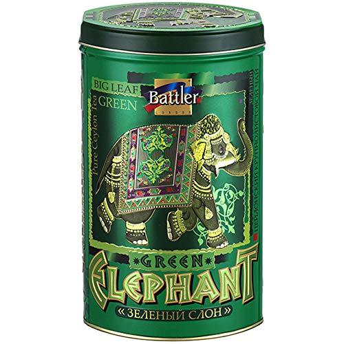 BATTLER Grüner Ceylon Tee Green Elephant lose 100g Metalldose Grüntee Sri Lanka (10)