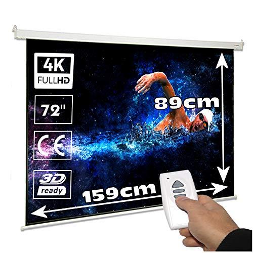 pequeño y compacto Pantalla eléctrica Luxscreen72 ″ 16: 9 Las dimensiones de la pantalla son 1,59 x 89 metros…