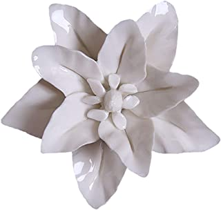 ALYCASO Ceramic Flower Pediments Sculpture Wall Decoration for Living Room Bedroom Hanging 3D Wall Art, D - White Lily, 3.54 inch