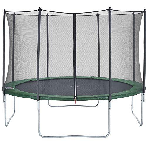 CZON SPORTS trampolino, 430 cm tappeto elastico con rete di sicurezza, verde trampolino elastico da giardino trampolino bambini
