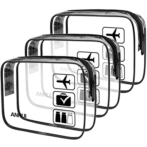 ANRUI Clear Toiletry Bag, 3-Pack TSA Approved Toiletry Bag For Travel Carry On Airport Quart Sized Clear Bag Same Size - Black