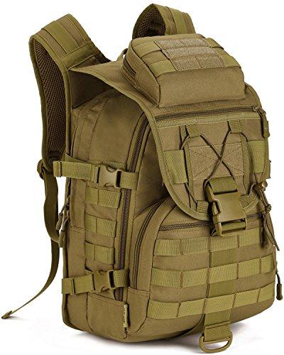 DCCN 40L Taktischer Rucksack Tactical Rucksack Militär Rucksack Wanderrucksack Fahrradrucksäcke Braun mit Regenhülle