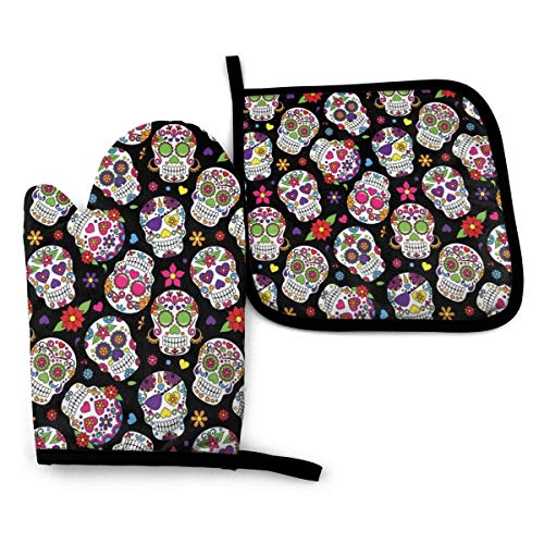 Heat Resistant Large Oven Mitt and Pot Holders,Cut Resistant Flexible Cooking Gloves with Recycled Cotton,Day of The Dead Skull Backdrop Cartoon Flowers,Kitchen Hot Gloves for Camping,Organizer,BBQ
