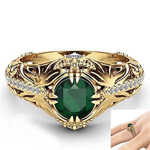 Ms Ring Emerald 14K vergulde luxe edelsteen prachtige verlovingsring kunst decoratie No.9 Goud