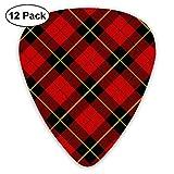 Red Tartan Plaid ピック ギターピック 12個入り それぞれ厚さ カラフル ピックケース付き 12枚セット 多種多色Thin 0.46mm、Medium 0.71mm、Heavy 0.96mm 各4枚 ティアドロップピック