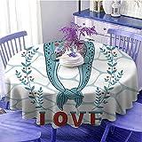 Narwhal Tovaglia rotonda a forma di balene Narwhal in Love San Valentino con sfondo astratto, idea...