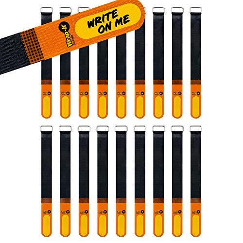 Wrap-It Storage Klettverschluss-Riemen, 20,3 cm, 18 Stück (orange/schwarz) mit beschriftbarem Etikett zur einfachen Identifizierung und Kabelmanagement, wiederverwendbare Mehrzweck-Sicherungsgurte.