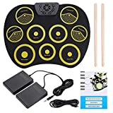 Rolling Up Drum Pad Kit,Jadpes Portable Electronic Roll Up Drum Kit Rolling Up Silicone Electronic Drum Pad Kit with Pedals Sticks USB Cable Drum Instruments Toy for Kids