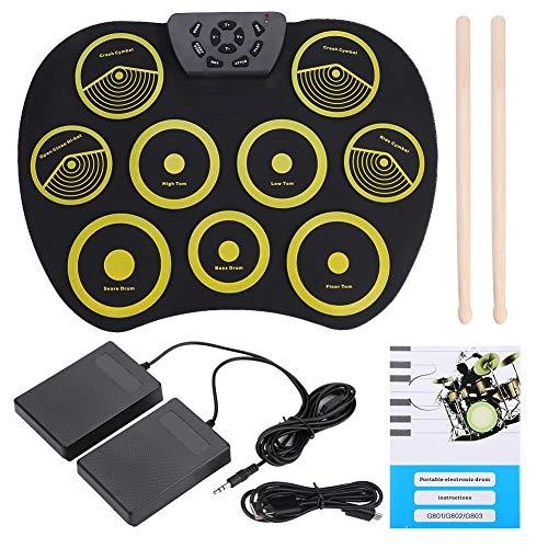 Shanbor Portable Rolling Up Silikon Electronic Drum Pad Kit mit Pedalsticks USB-Kabel Zubehör Fußpedale und Drumsticks