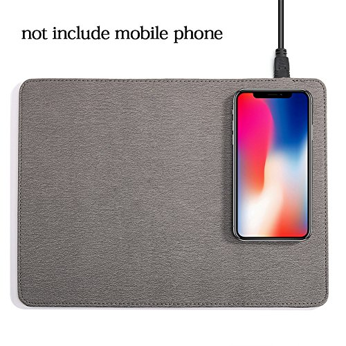 Draadloze oplader Muis Pad Gaming Muis Pad Qi Snelle Draadloze Opladen Muis Pad Draagbare Antislip PU Oplader Muis Mat voor iPhone X 8 Plus, Samsung Note 8,S8,S7,S6/Edge free size Grijs
