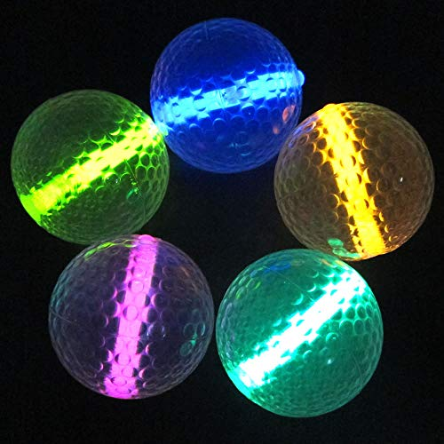 Glow Golf Balls (Set of 20 Night Golf Balls) - Glowing Golf Balls with Glow Stick Inserts (Assorted)